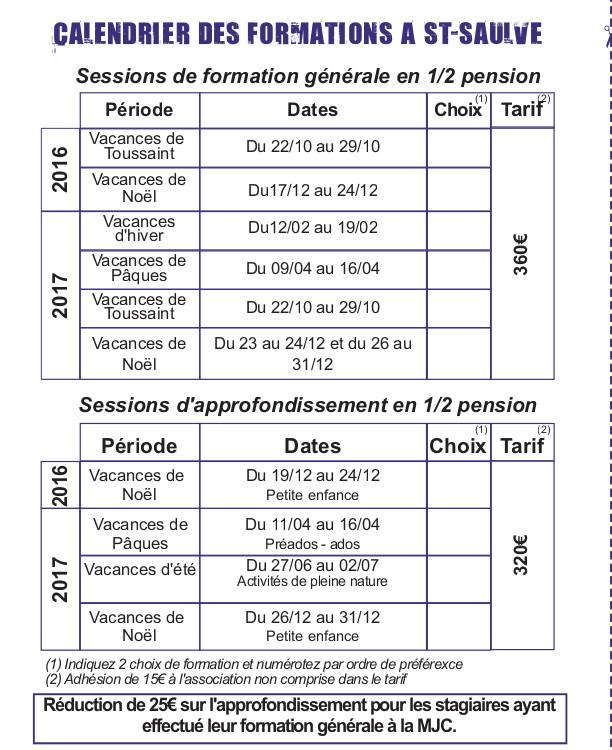 calendrier bafa 2016-2017